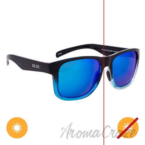 Picture of Solize Into the Sun - Black and Clear to Blue by DelSol for Unisex - 1 Pc Sunglasses