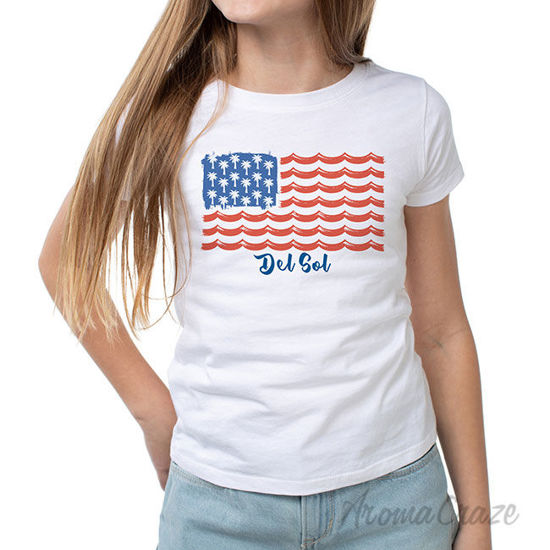 Picture of Classic Crew Tee Tropical Americana-White by DelSol for Women 1 Pc T-Shirt (XL)