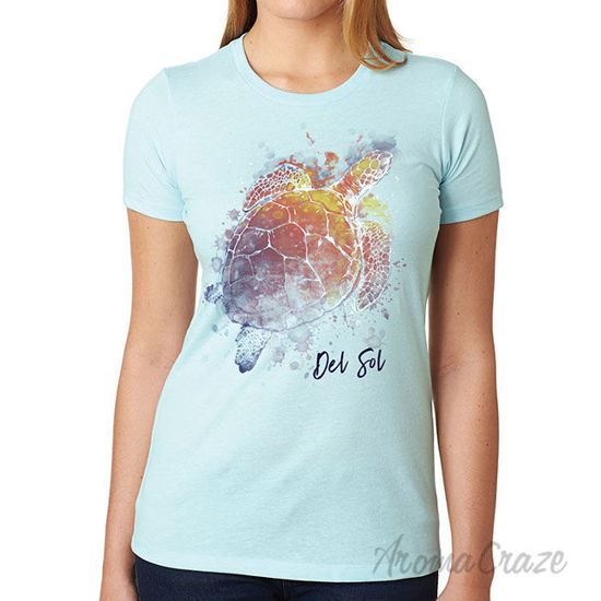 Picture of Girls Crew Tee Turtle Splash-Ice Blue by DelSol for Women 1 Pc T-Shirt (Large)