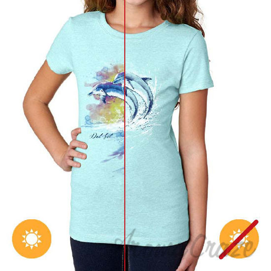Picture of Junior Crew Tee Watercolor Dolphins-Ice Blue by DelSol for Women 1 Pc T-Shirt (XL)