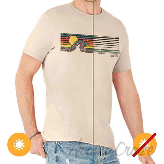 Picture of Men Crew Tee Sunset Wave Grey by DelSol for Men 1 Pc T-Shirt (Medium)