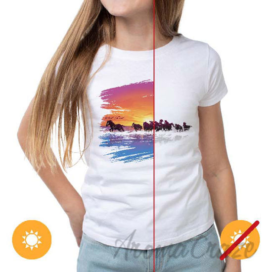 Picture of Women Crew Tee Wild Horse White by DelSol for Women 1 Pc T-Shirt (2XL)
