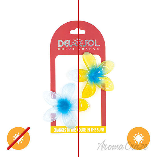 Picture of Color-Changing Hair Clips Color Splash Plumeria Blue to Yellow by DelSol for Women 1 Pair Hair Clips
