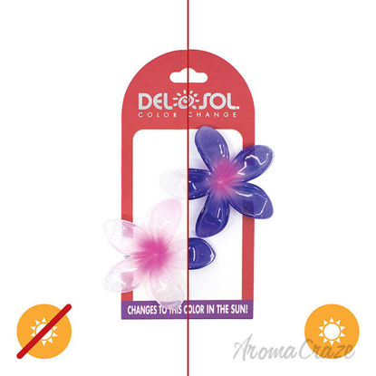 Picture of Color-Changing Hair Clips Color Splash Plumeria Pink to Purple by DelSol for Women 1 Pair Hair Clips