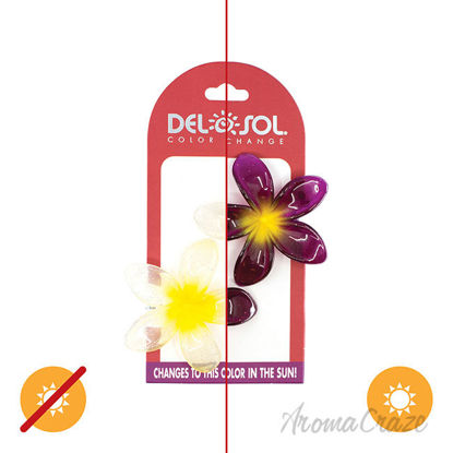 Picture of Color-Changing Hair Clips Color Splash Plumeria Yellow to Fuchsia by DelSol for Women 1 Pair Hair Clips