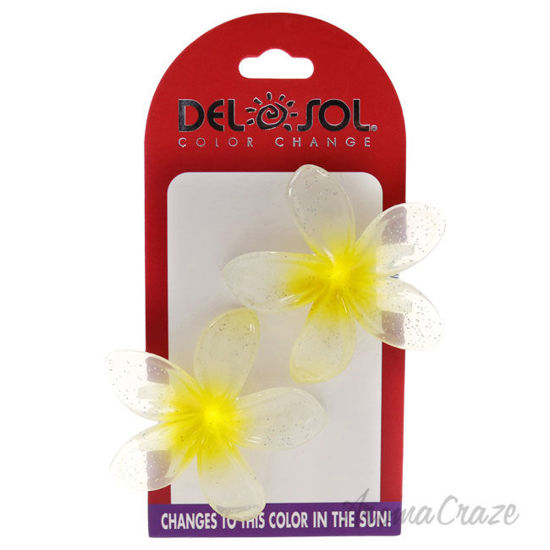Picture of Color-Changing Hair Clips Color Splash Plumeria Yellow to Purple by DelSol for Women 1 Pair Hair Clips