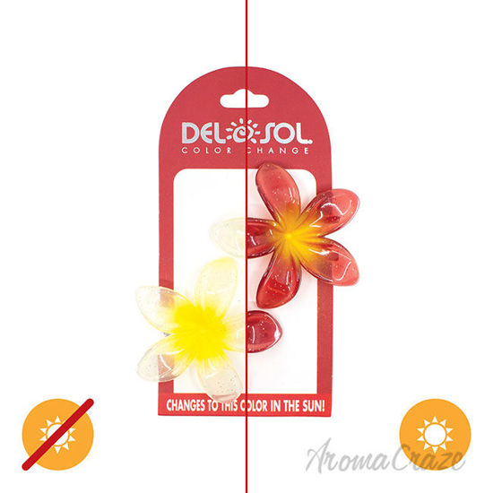 Picture of Color-Changing Hair Clips Color Splash Plumeria Yellow to Red by DelSol for Women 1 Pair Hair Clips