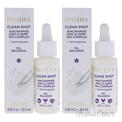 Picture of Clean Shot Niacinamide Zinc and Hemp 10 Percent Complex by Pacifica for Unisex 0.8 oz Serum Pack of 2