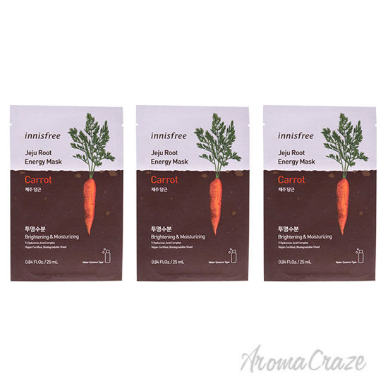 Picture of Jeju Root Energy Mask Carrot by Innisfree for Unisex 0.84 oz Mask Pack of 3